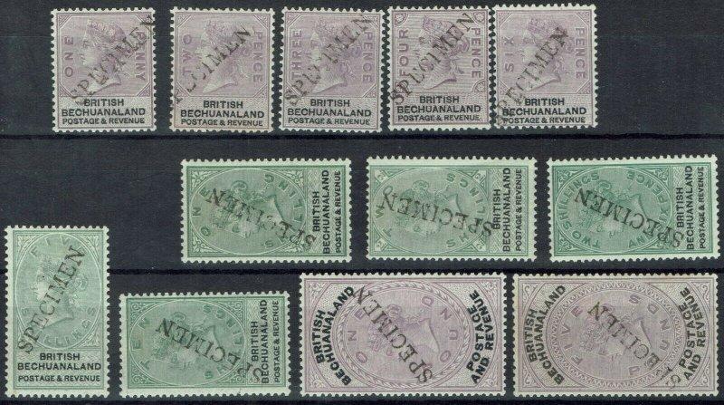 BECHUANALAND 1888 QV SPECIMEN SET TO 5 POUNDS