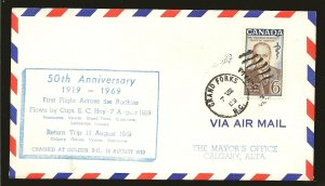 Canada 495 on 1969 First Flight Across The Rockies 50th Anniversary Flight Cover