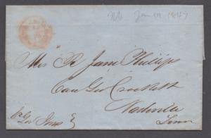 **US Stampless Cover Ship Mail, New Orleans, LA to Nashville, TN 1/19/1847, F/L