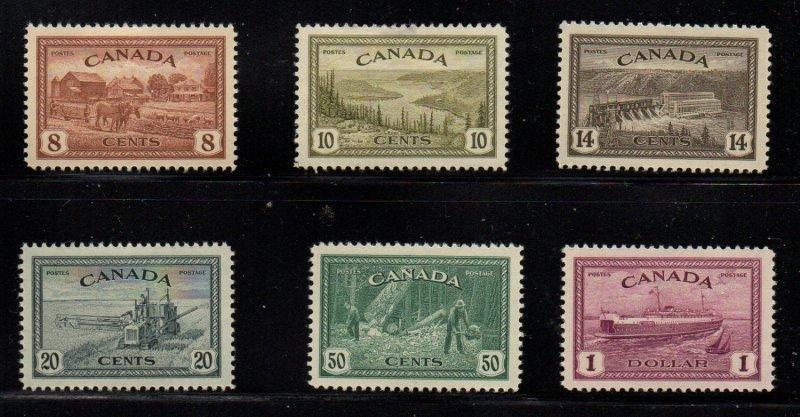 Canada Sc 268-73 1946 Peace stamp set mint