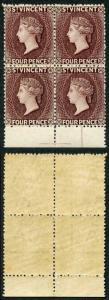 ST VINCENT 1885-93 SG51 4d purple-brown Block of Four Lovely Deep Colour