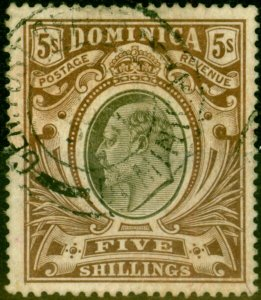 Dominica 1908 5s Black & Brown SG46 Fine Used