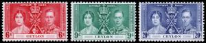 Ceylon Scott 275-277 (1937) Mint LH VF Complete Set C