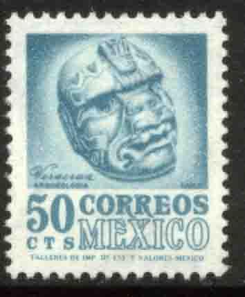 MEXICO 949 50c 1950 Def 5th Issue Fluorescent unglazed MNH