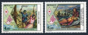 Monaco 1714-1715,MNH.Michel 1957-1958. Monegasque Red Cross 1990.St Devote.Bird.