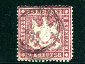 Wuerttemberg #27a  Mi 19yb well centered  signed