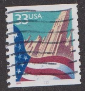 US #3280 Flag over City Used PNC Single plate #1111
