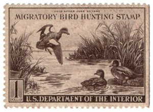 (I.B) US Revenue : Duck Hunting Stamp $1 (1942)
