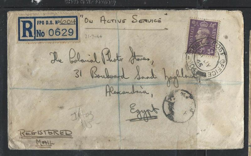 GREAT BRITAIN  (PP2101B)  1945 KGVI 3D OAS REG FPO DS 604 ITALY TO EGYPT