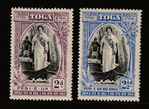 Tonga the 2d & 2.5d MH from the 1938 Accession set