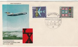 Germany 1965 Munich Flight Slogan Cancel Airmail Plane FDC Stamps Cover Ref25588