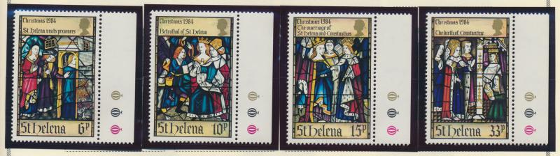 St. Helena Stamp Set Scott #424-7, Mint Never Hinged MNH, Christmas 1984
