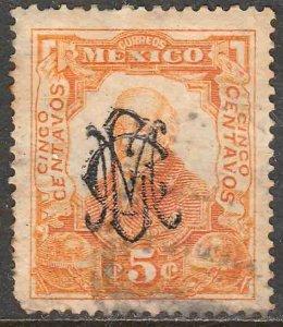 MEXICO 459, 5¢ VILLA MONOGRAM REVOLUT OVPERPRINT USED F-VF. (315)
