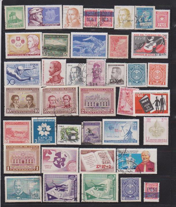 LOT OF DIFFERENT STAMPS OF CHILI USED (40) LOT#132