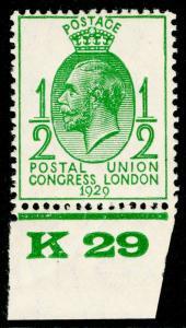 SG434, ½d green, NH MINT. Cat £10+ CONTROL K29.