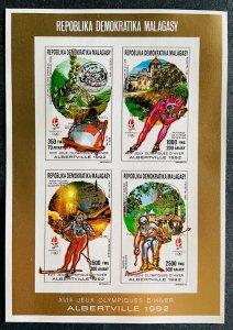 Mini Sheet Stamps Gold Overprint O.G Albertville 92/ Madagascar 90 IMPERF.