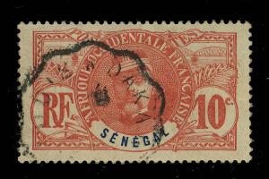 SÉNÉGAL - ca. 1910 CAD CONVOYEUR-LIGNE St-LOUIS À DAKAR SUR 10c FAIDHERBE