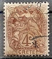 France-Off.Crete  4 1902 Used 4c Liberty,Equality & Frate...