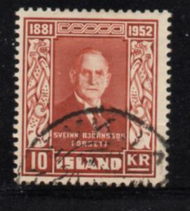 Iceland Sc 277 1952 10 kr Bjornsson stamp used