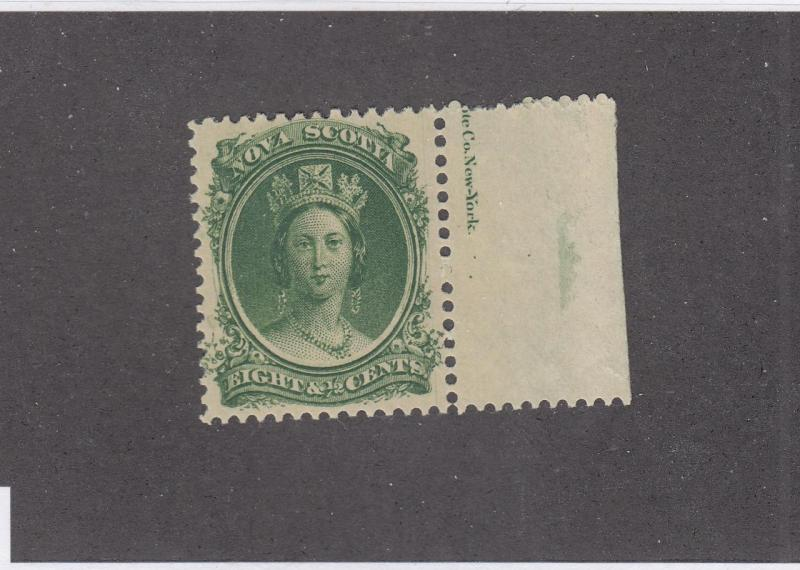 NOVA SCOTIA  # 11 VF-MNH 81/2cts  QUEEN VICTORIA GREEN W MARGIN CAT VALUE $40