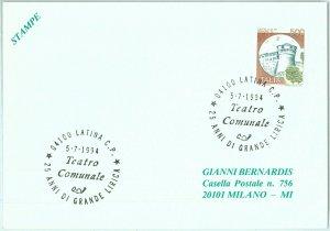 91624 - ITALIA - STORIA POSTALE - Annullo speciale LATINA : Musica 1994 TEATRO