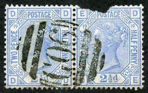 British Levant SG Z8 2 1/2d Blue Plate 19 Beyrout G06 Pmk 1 Stamp Badly Damaged