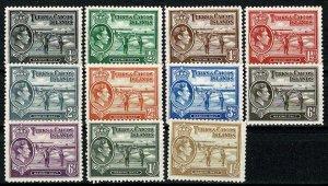 TURKS & CAICOS ISLAND 1938-45 KG VI PART SET SG194-202 MH Wmk. MSCA P.12.5 VGC