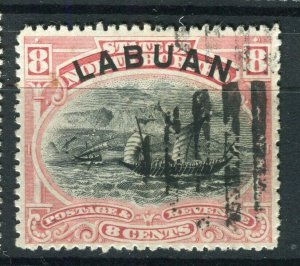 NORTH BORNEO LABUAN; 1890s classic Pictorial issue fine used 8c. value