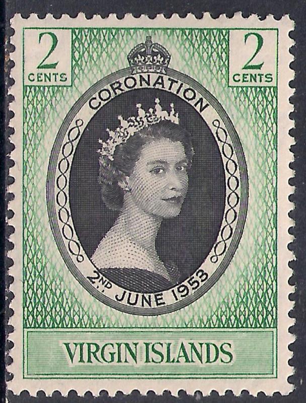 British Virgin Islands 1953 QE2 2ct Coronation MM SG 148 ( R1150 )