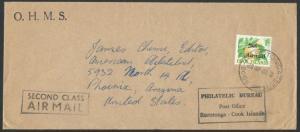 COOK IS 1966 1/- airmail overprint on cover Rarotonga to USA...............65236