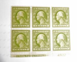 #337 8 cent Washington plate block