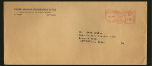 Canada Meter Stamp Postmarked 1949 Ottawa Ontario Cover Used