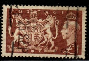 Great Britain Sc 289 1951  £1  George VI stamp used