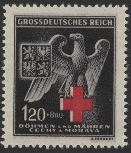 Stamp Germany Bohemia Czech Mi 132b Sc B21 1940 WWII Occupation Red Cross MNH