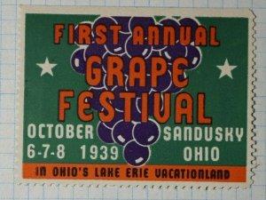 Annual Grape Festival 1939 Sadusky OH Company Brand Poster Stamp Ad