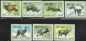 North Vietnam  1988 Wild Animals  SC# 1885-1891 MNH