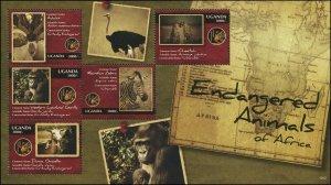 Uganda MNH S/S 1952 Endangered Animals Of Africa  2012
