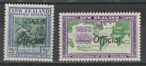 NEW ZEALAND 1940 OFFICIAL CENTNEARY 21/2D AND 6D */**