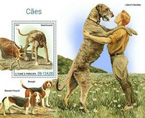 Sao Tome & Principe 2021 MNH Dogs Stamps Deerhound Beagle Basset Hound 1v S/S