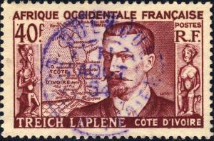 AOF/CÔTE-D'IVOIRE - 1954 CAD DOUEKOUE VIOLET SUR 40fr TREICH LAPLENE (Yv.47)