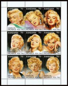 Tanzania Scott 809 (1992) Marilyn Monroe SS, Mint NH VF C