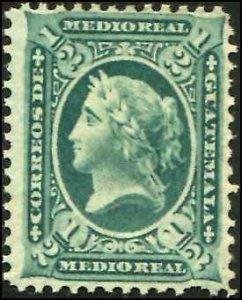 Guatemala SC# 8 Liberty 1/2r  mint no gum SCV $42.50
