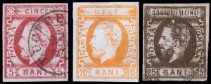 Romania Scott 43-44, 47 (1871-72) Used H F-VF,  CV $117.50 B