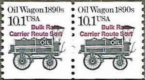 United States #2130a 10.1c Oil Wagon MNH Bureau precancel coil pair (1985)