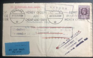 1935 Penang Straits Settlements Airmail Return To Sender cover to England