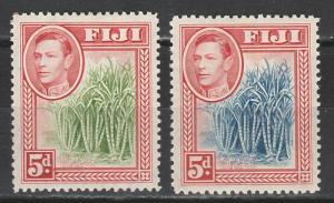 FIJI 1938 KGVI SUGAR CANE 5D BLUE AND GREEN CANES
