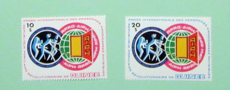 Guinea - 850-51, MNH Set. Int. Yr. Handicapped. SCV- $8.00