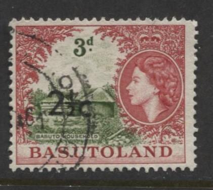 Basutoland -Scott 64-Surcharge New Value -1961-Used -Single 2.1/2c on a 3d Stamp