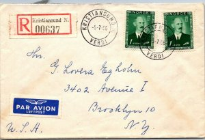 Kristiansund Norway > Brooklyn NY 1956 cover Registered airl mail