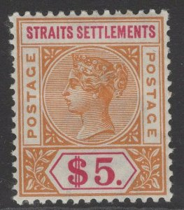 MALAYA STRAITS SETTLEMENTS SG105 1898 $5 ORANGE & CARMINE MTD MINT